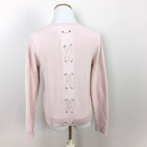 Cabi ballet pink lace up Eliza Sweater
